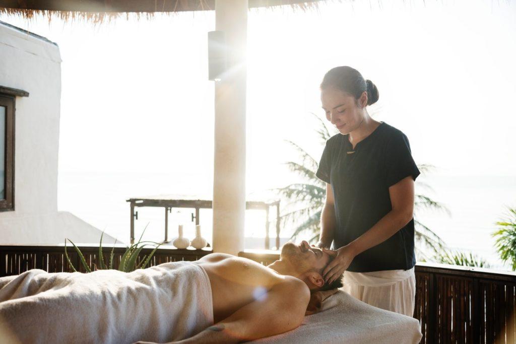 Man Enjoying a Holistic Massage
